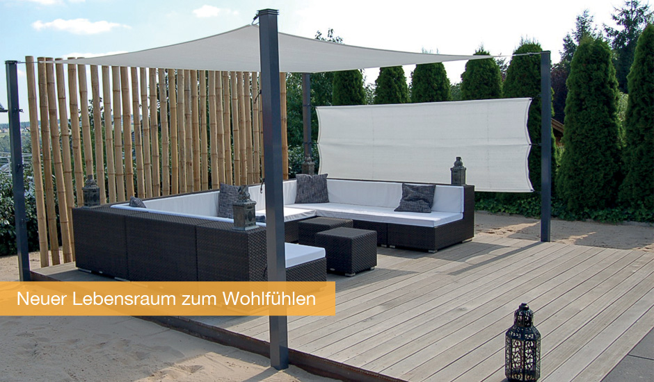 sonnensegel ansprechender uv schutz f r terrasse oder balkonsonnensegel kugelmann. Black Bedroom Furniture Sets. Home Design Ideas